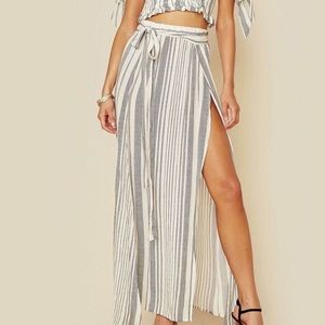 Planet Blue Blue Life High Waisted Wrap Maxi Skirt